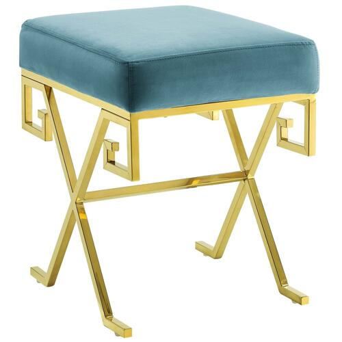 Twist Performance Velvet Bench in Sea Blue