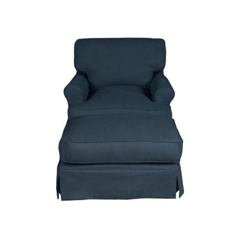 Horizon Slipcovered T-Cushion Chair with Ottoman - Color: 391049