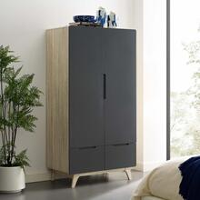 Origin Wood Wardrobe Cabinet in Natural Gray