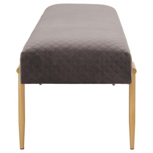Clarine KD Quilted Velvet Fabric Bench, Serene Dark Gray