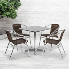 See Details - 27.5'' Square Aluminum Indoor-Outdoor Table Set with 4 Dark Brown Rattan Chairs
