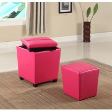 Fun Color 2 in 1 Storage Ottoman w/ Stool Hot Pink