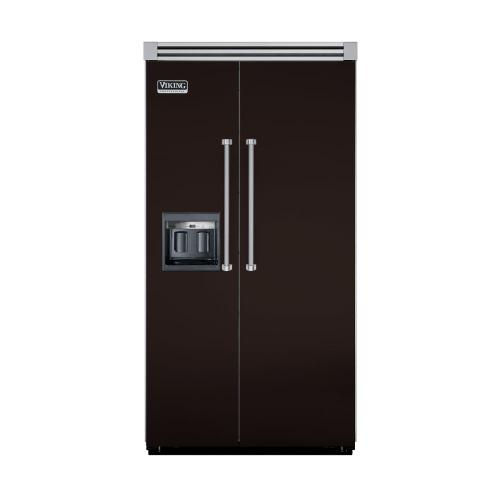 """Viking - Chocolate 42"""" Side-by-Side Refrigerator/Freezer with Dispenser - VISB (Integrated Installation)"""