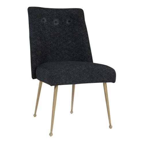 Batik Black Textured Linen Dining Chair