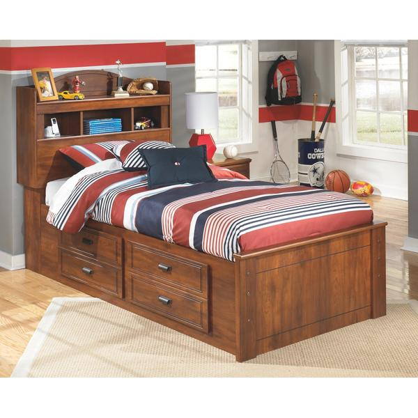 Barchan Twin Bookcase Bed With 4 Storage Drawers