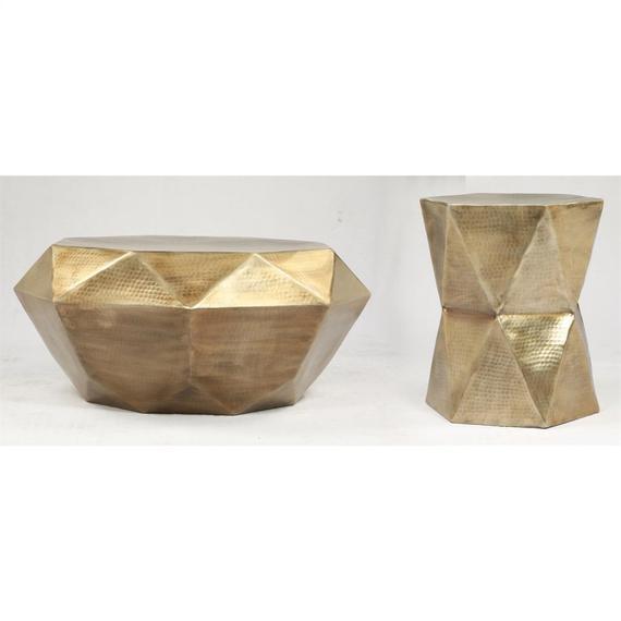 Riverside - Side Table - Hammered Gold Finish