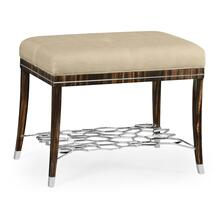 Macassar Ebony Stool with White Brass Detail, Upholstered in MAZO
