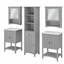 See Details - 48W Double Vanity Set with Sinks, Medicine Cabinets and Linen Tower, Cape Cod Gray