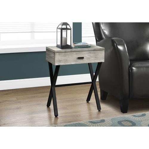 """ACCENT TABLE - 24""""H / GREY RECLAIMED WOOD / BLACK METAL"""