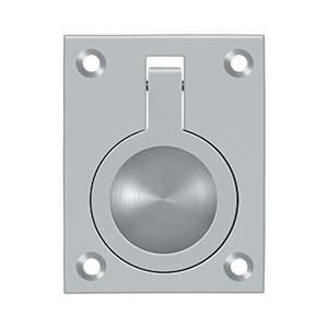 "Flush Ring Pull, 2-1/2"" x 1-7/8"" - Brushed Chrome"