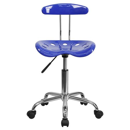 Flash Furniture - Vibrant Nautical Blue and Chrome Swivel Task Office Chair with Tractor Seat