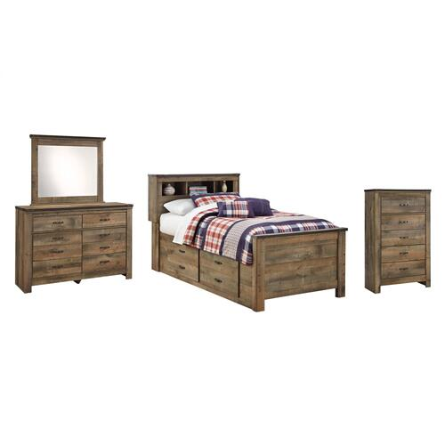Ashley - Twin Bookcase Bed With 2 Storage Drawers With Mirrored Dresser and Chest