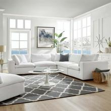 Commix Down Filled Overstuffed 5 Piece Sectional Sofa Set in White
