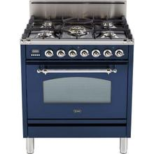 Nostalgie 30 Inch Gas Natural Gas Freestanding Range in Blue with Chrome Trim