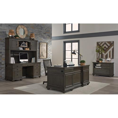 """66"""" Executive Desk (Available in Whiskey Brown or Peppercorn Grey Finish)"""