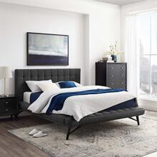 Julia Queen Biscuit Tufted Upholstered Fabric Platform Bed in Gray