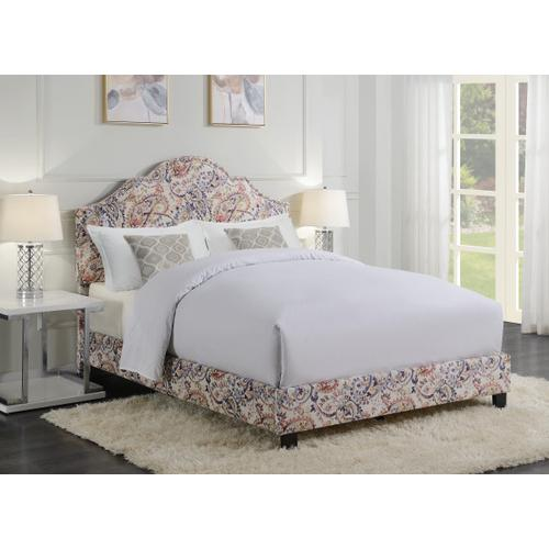 Product Image - All-in-One Shaped Fully Upholstered Paisley Queen Bed with Nail head Trim