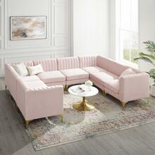 Triumph Channel Tufted Performance Velvet 8-Piece Sectional Sofa in Pink