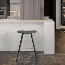 """View Product - Piper 26"""" Counter Height Backless Bar Stool in Grey Faux Leather and Black Wood"""