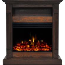 Cambridge Sienna 34-In. Electric Fireplace Heater with Walnut Mantel, Enhanced Log Display, Multi-Color Flames, and Remote Control, CAM3437-1WALLG3