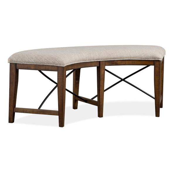 Curved Bench w/Upholstered Seat