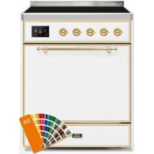 See Details - Majestic II 30 Inch Electric Freestanding Range in Custom RAL Color with Brass Trim