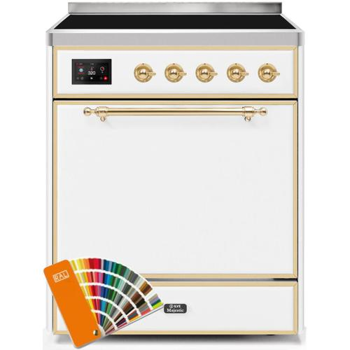 Majestic II 30 Inch Electric Freestanding Range in Custom RAL Color with Brass Trim