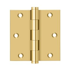 """Deltana - 3-1/2"""" x 3-1/2"""" Square Hinge - PVD Polished Brass"""