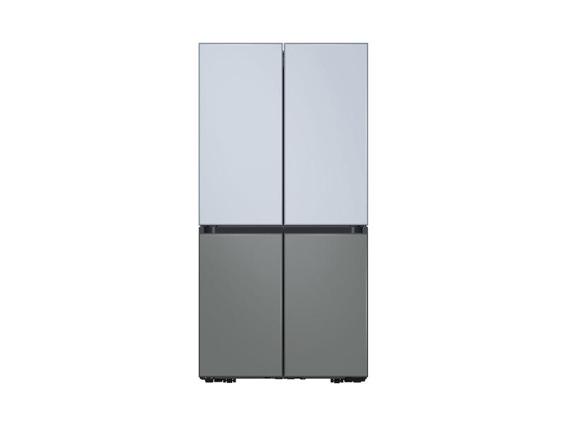 29 cu. ft. Smart BESPOKE 4-Door Flex™ Refrigerator with Customizable Panel Colors in Sky Blue Glass Top and Grey Glass Bottom