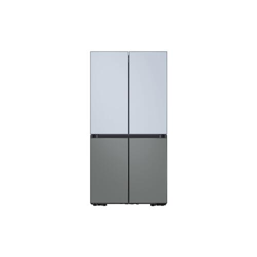 Samsung - 23 cu. ft. Smart Counter Depth BESPOKE 4-Door Flex™ Refrigerator with Customizable Panel Colors in Sky Blue Glass Top and Grey Glass Bottom