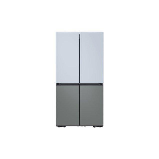 Samsung Appliances 29 cu. ft. Smart BESPOKE 4-Door Flex™ Refrigerator with Customizable Panel Colors in Sky Blue Glass Top and Grey Glass Bottom