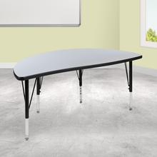 "47.5"" Half Circle Wave Collaborative Grey Thermal Laminate Activity Table - Height Adjustable Short Legs"