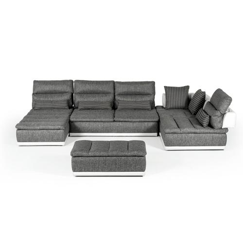 David Ferrari Panorama Italian Modern Grey Fabric & White Leather Configurable Sectional Sofa