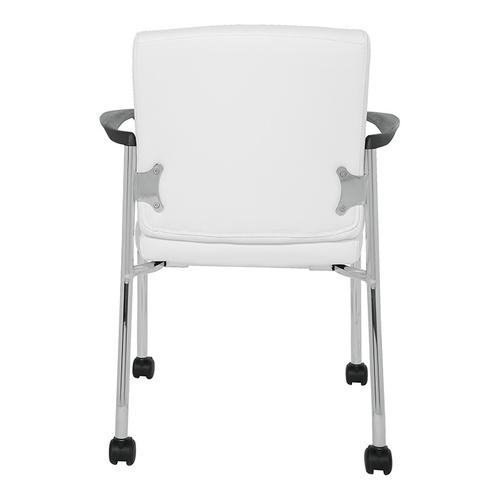 Office Star - Guest Chair With Casters In White Faux Leather With Chrome Frame
