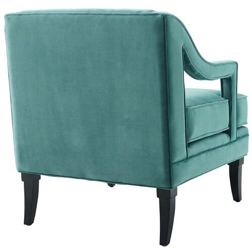 Concur Button Tufted Performance Velvet Armchair in Teal