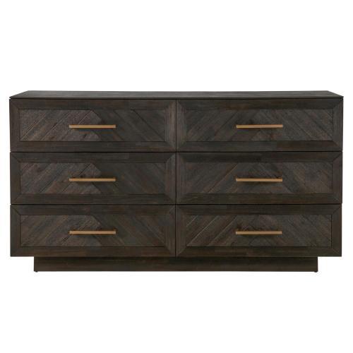 Wellington Herringbone Dresser 6 Drawers, Thames Dark Brown