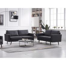 See Details - 8121 2PC DARK GRAY Linen Stationary Basic Living Room SET