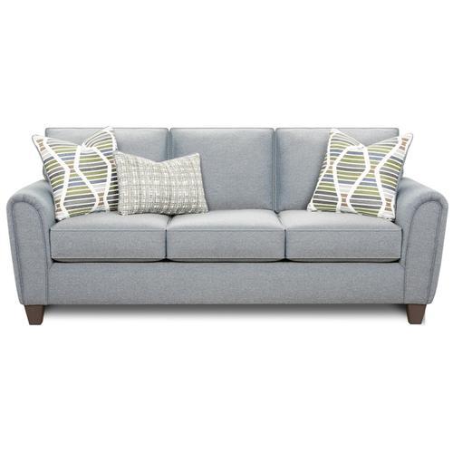 Stationary Sofa in Macarena Marine Fabric with Papoose Marine & Potlatch Marine Pillows