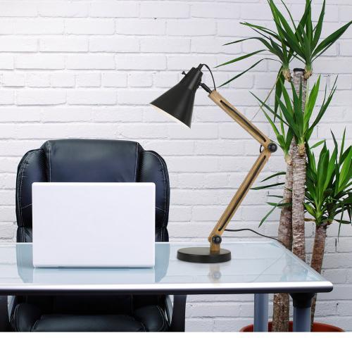 60W Scotia Metal/Wood Desk Lamp