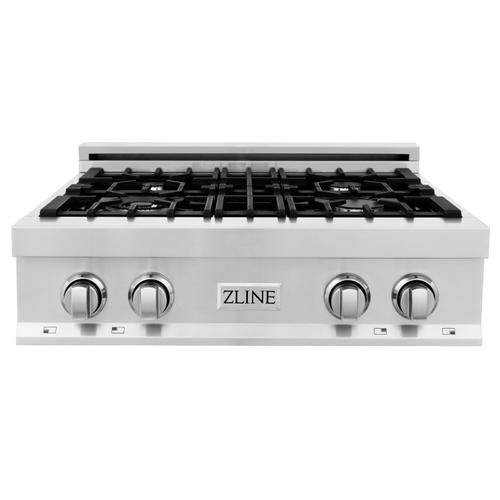 """Zline Kitchen and Bath - ZLINE 30"""" Porcelain Gas Stovetop with 4 Gas Burners (RT30) [Color: Stainless Steel with Brass Burners]"""