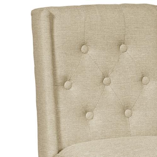 Shelter Wing Back Upholstered Barstool in Beige