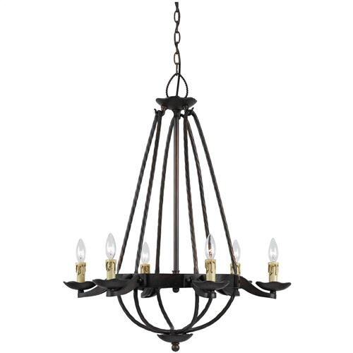60W X 6 MOJAVE HAND FORGED IRON 6 LIGHT CHANDELIER