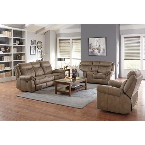 Knoxville Manual Motion Sofa with Console Table and Drawer, Mocha