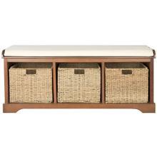 See Details - Lonan Wicker Storage Bench - Medium Walnut / White