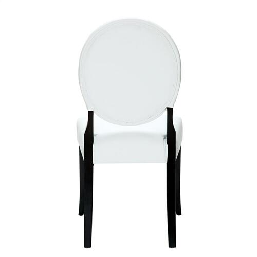 Button Dining Vinyl Side Chair in White