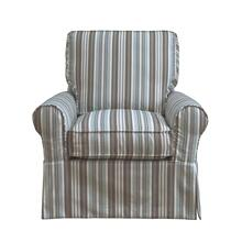 Horizon Slipcovered Box Cushion Swivel Rocking Chair - Blue Striped - 395225