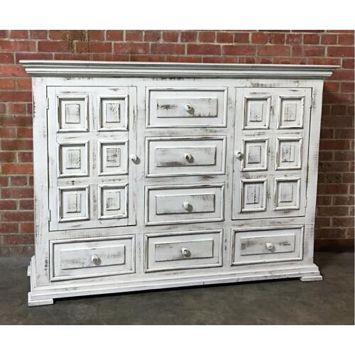 MIC37NDSR/MIRR  Chalet Dresser 6 Drawer 2 Door and Mirror - ASPEN GRAY (Shown in White)