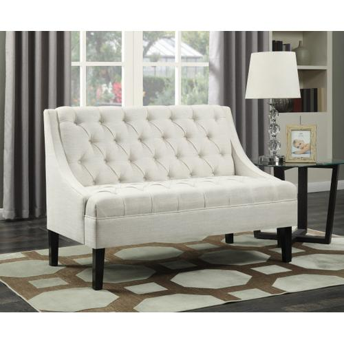 Product Image - Scoop Arm Tufted Entryway Bench in Powder White