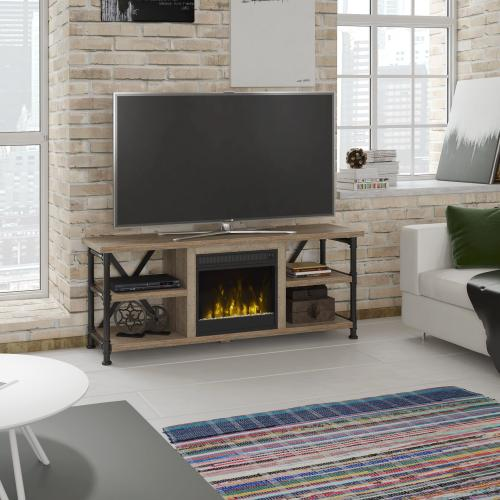 """Irondale TV Stand for TVs up to 65"""" with Electric Fireplace, Autumn Driftwood"""