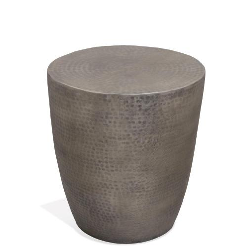 Drum Side Table - Antique Pewter Finish
